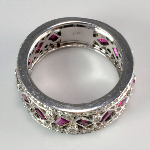 Milgrain Detailed Diamond & Ruby Ring | 0.58 ctw, SZ 6.25 |