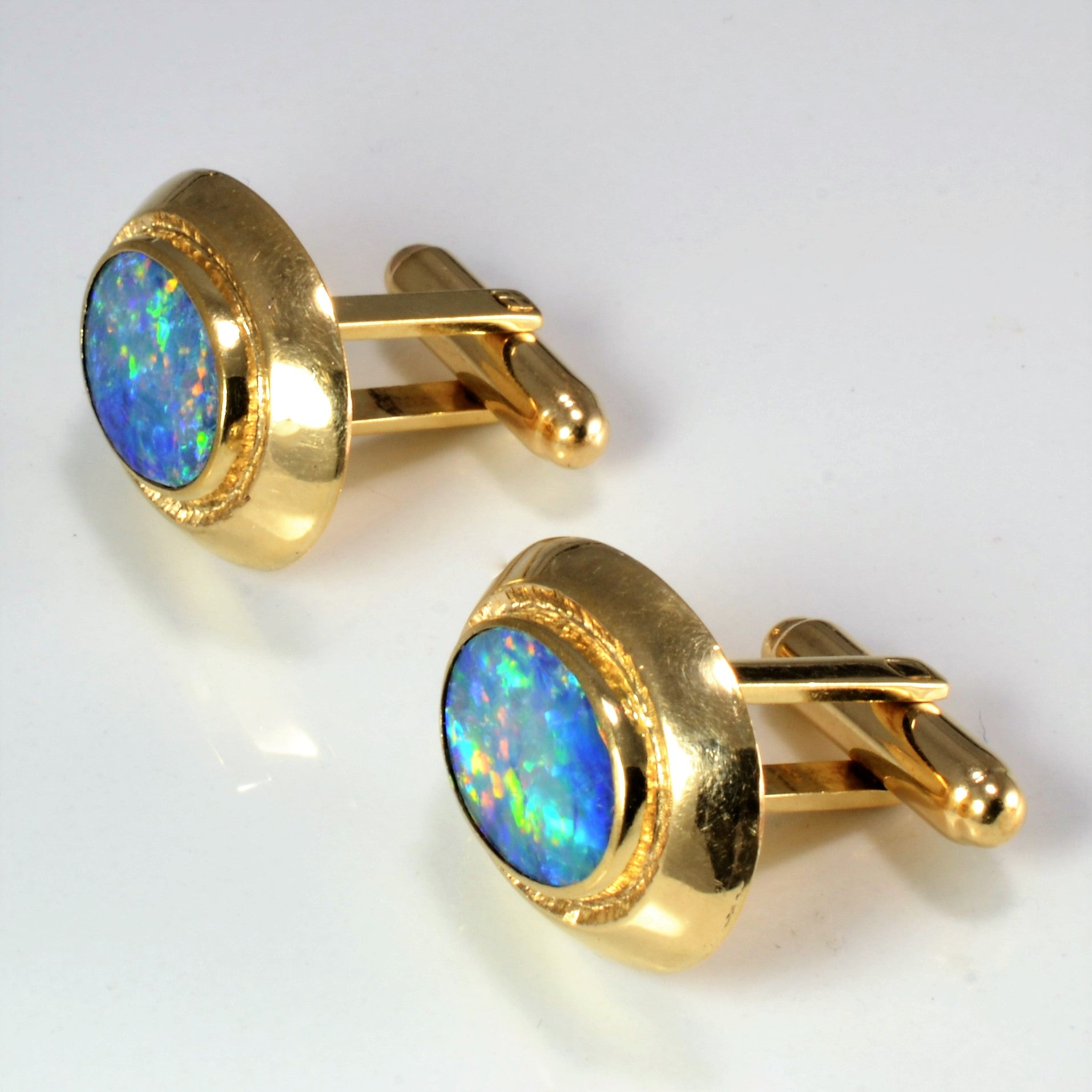 Bezel Set Opal Gold Cuff links