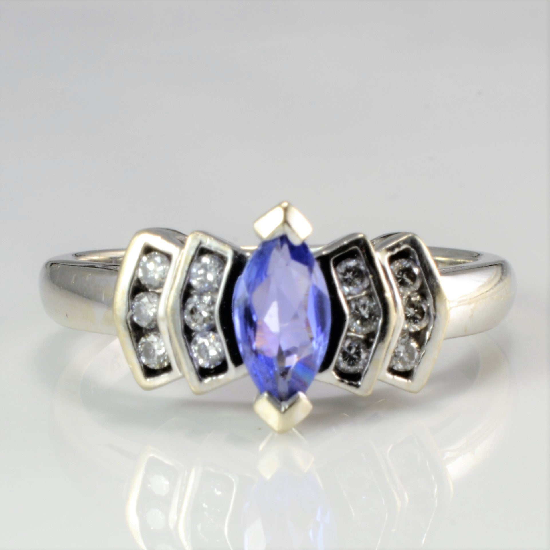 Solitaire Tanzanite & Accents Diamond Ring | 0.12 ctw, SZ 6 |
