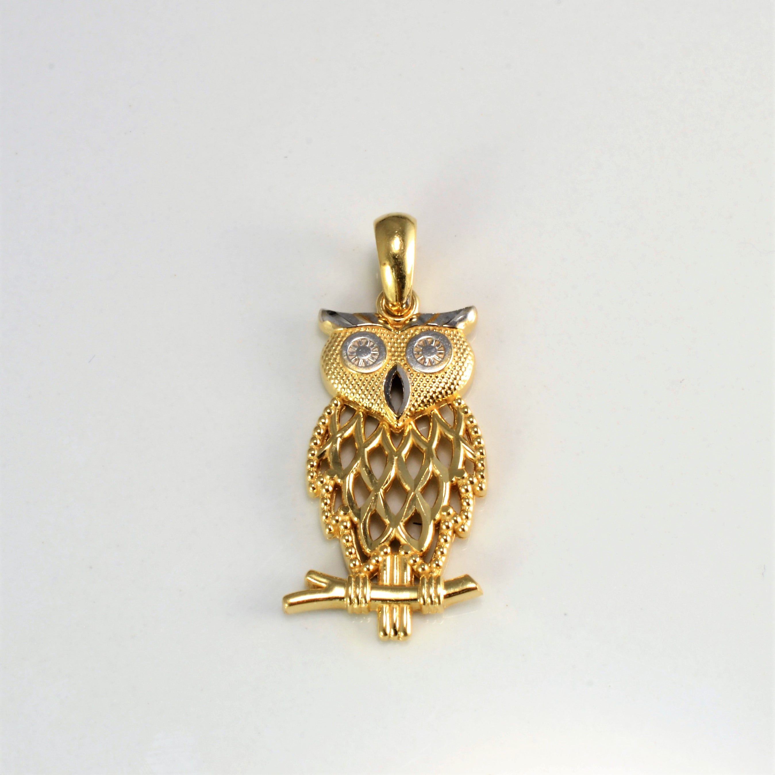 Two Tone Gold Owl Pendant