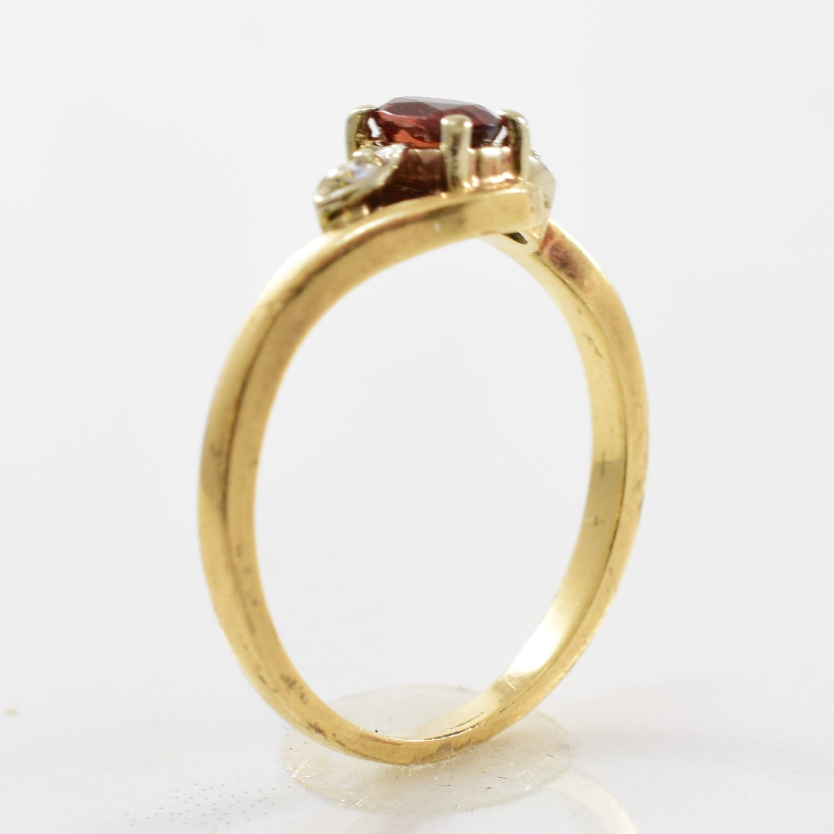 Garnet & Diamond Bypass Ring | 0.02ctw, 0.25ct | SZ 6.5 |