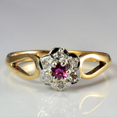 Open Shank Ruby & Diamond Flower Ring | 0.06 ctw, SZ 8.5 |