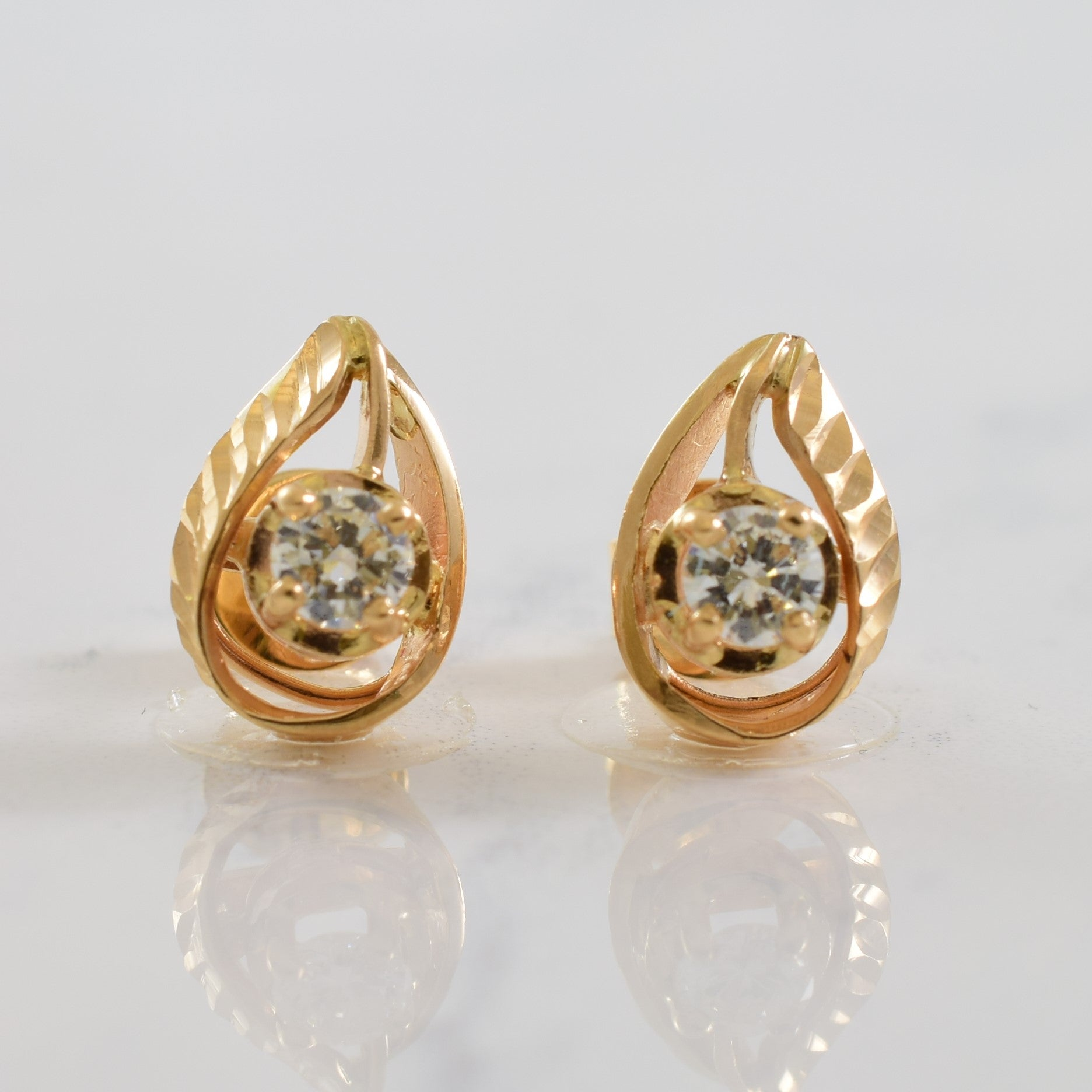 Tear Drop Diamond Stud Earrings | 0.40ctw |