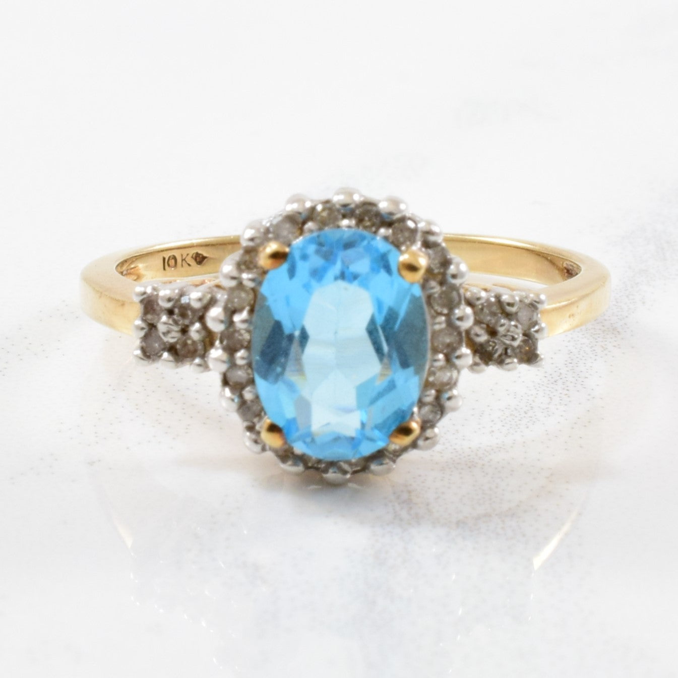 Blue Topaz & Diamond Halo Ring | 0.06ctw, 1.50ct | SZ 7 |