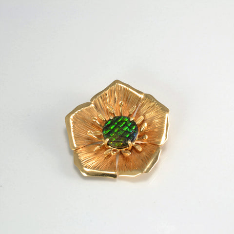 Flower Design Ammolite Pendant/ Brooch