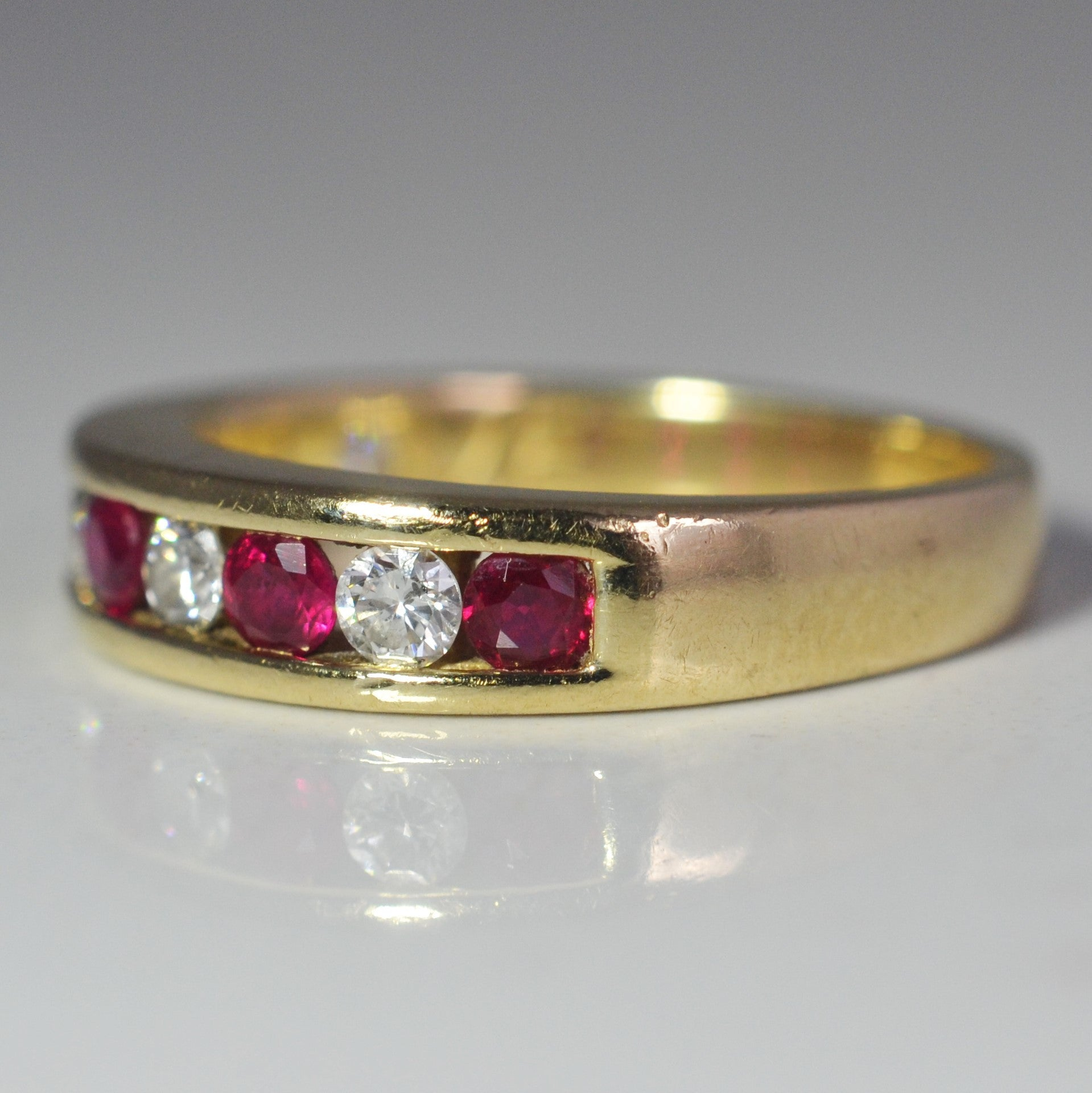 Alternating Diamond & Ruby Ring | 0.15 ctw, SZ 7 |