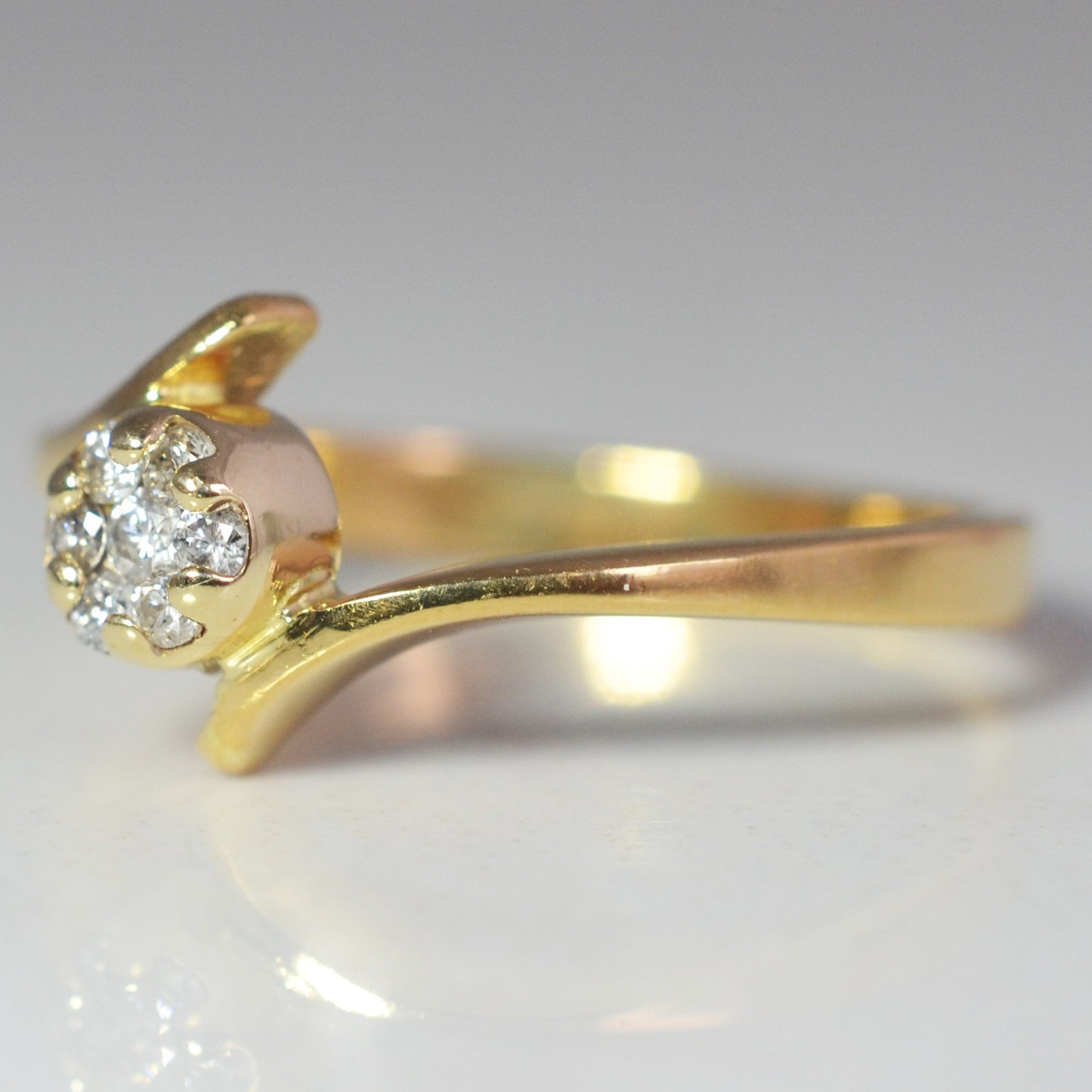 Petite Diamond Cluster Bypass Promise Ring | 0.08 ctw, SZ 5 |