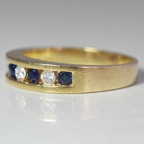 Alternating Diamond & Sapphire Band | 0.10 ctw, SZ 5.75 |