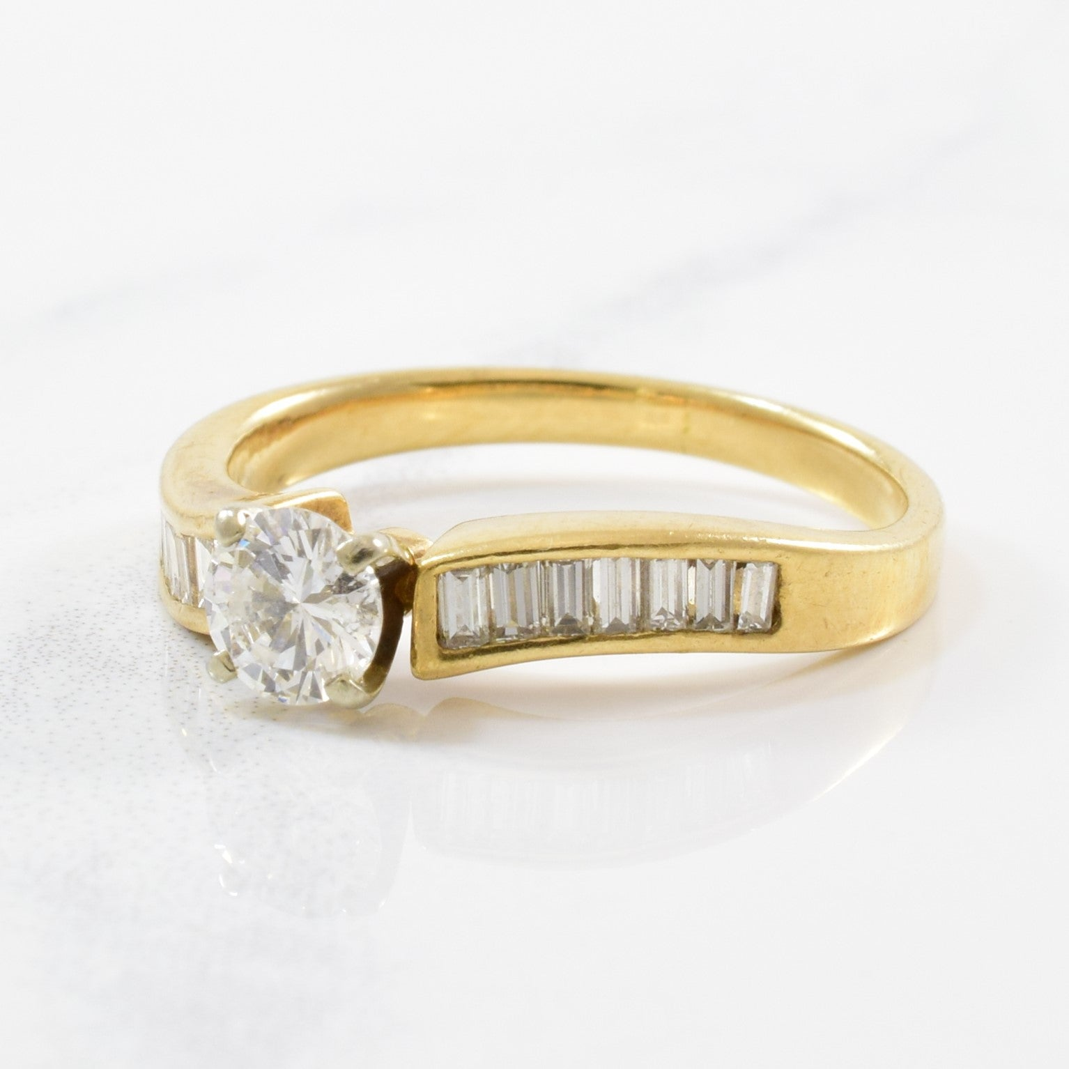 Diamond Engagement Ring With Baguette Cut Accents | 0.57ctw | SZ 4.5 |