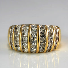 Multi Row Channel Diamond Wide Ring | 0.85 ctw, SZ 7.5 |