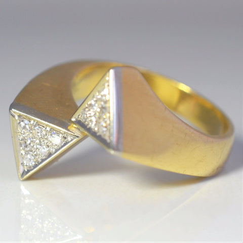 Bypass Pave Triangle Cocktail Ring | 0.18 ctw, SZ 7.25 |