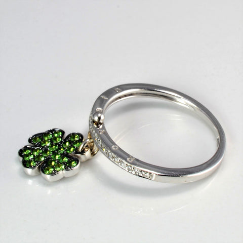 Hanging Clover Diamond White Gold Ring | 0.05 ctw, SZ 6.75 |