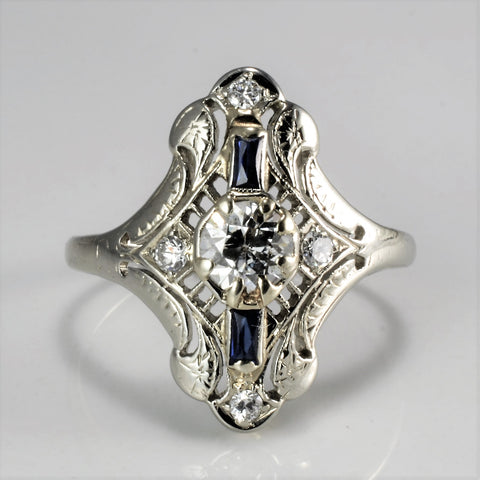 Vintage Art Deco Diamond & Sapphire Engagement Ring | 0.71 ctw, SZ 6 |