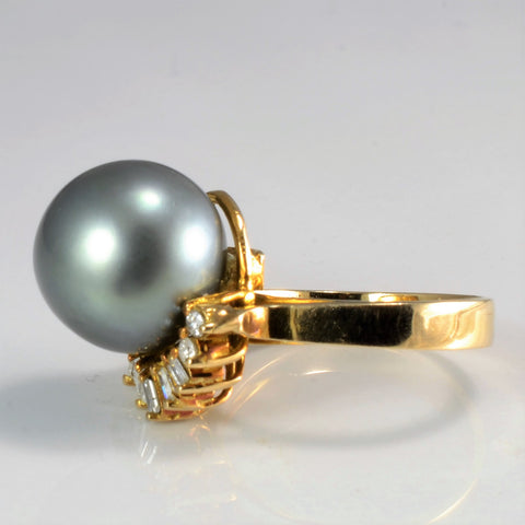 Pearl & Diamond Cocktail Ring | 0.20 ctw, SZ 6 |