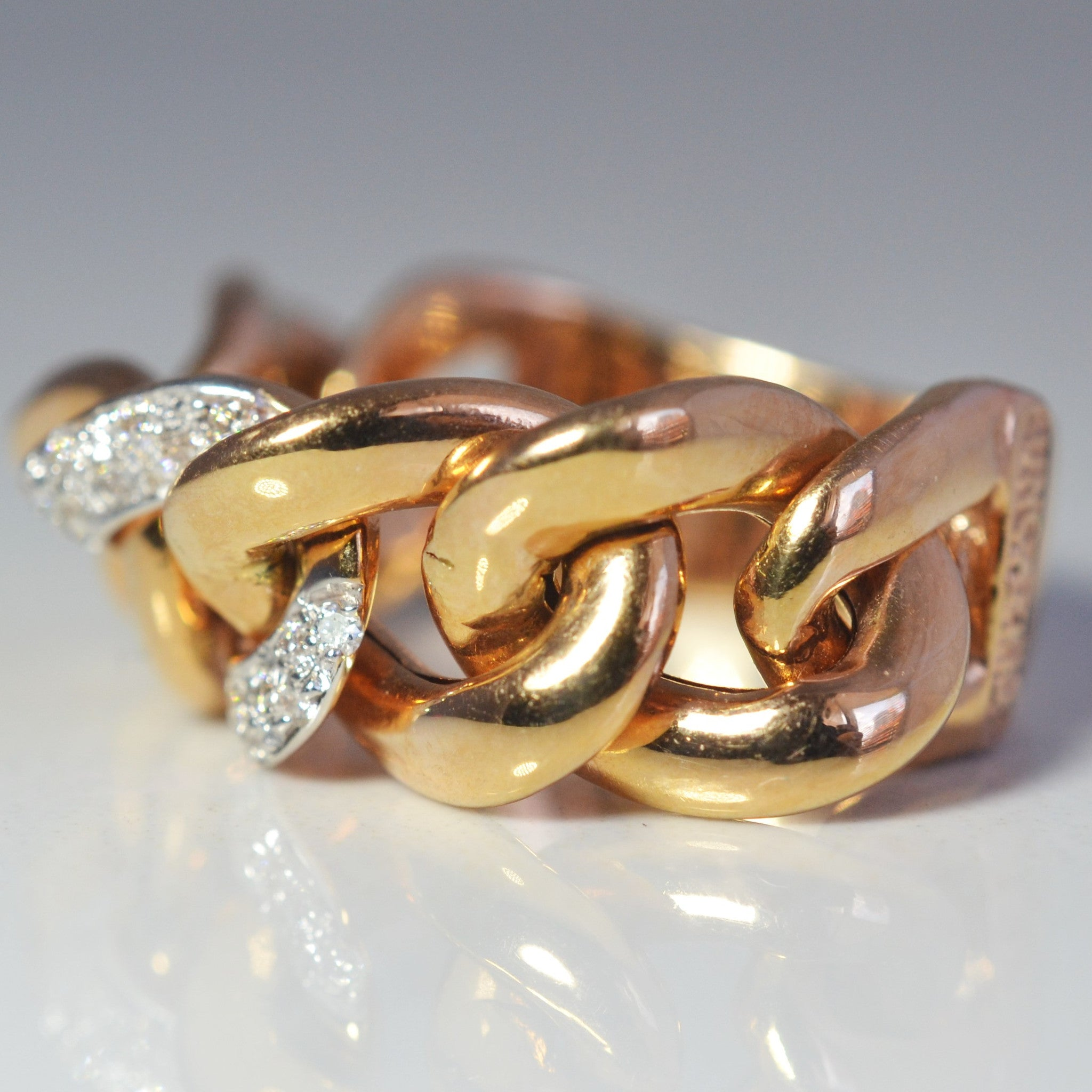 'UnoAErre' Chainlink Rose Gold Diamond Ring | 0.22ctw | SZ 8.75 |