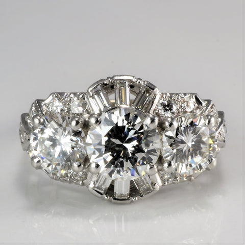 Art Deco Three Stone Diamond Ring | 2.90 ctw, SZ 4 |