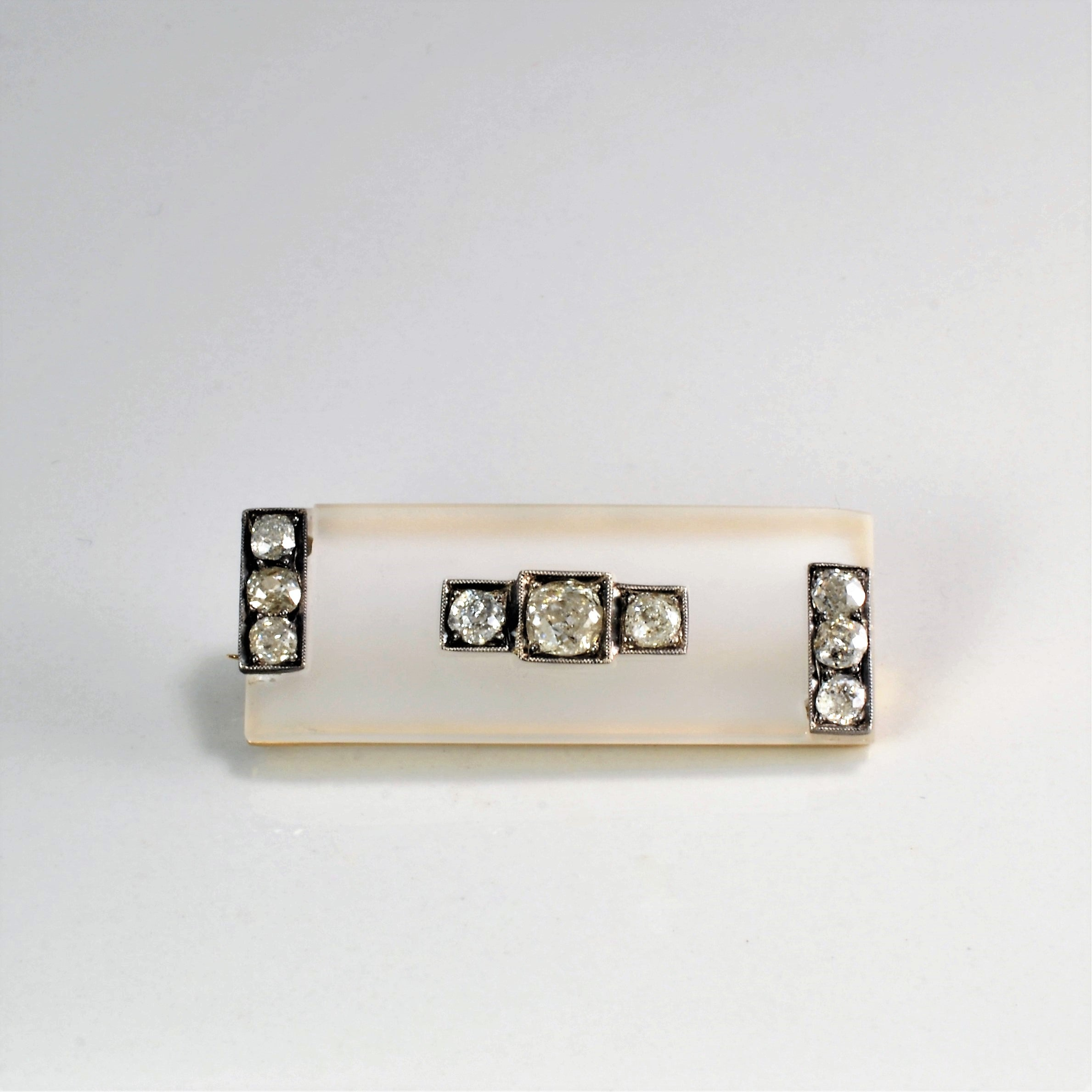 Art Deco Diamond & Camphor Glass Brooch | 0.86 ctw |