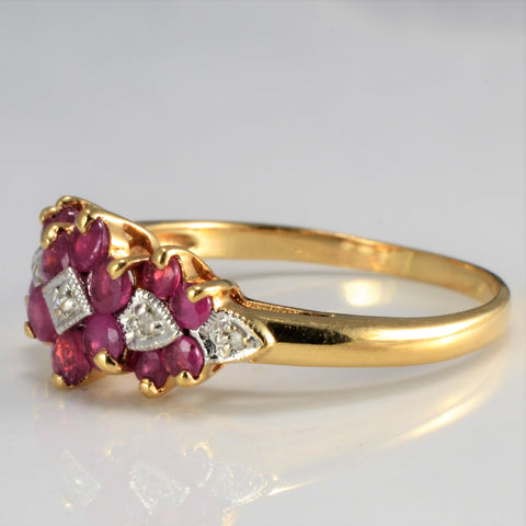 Cluster Ruby & Diamond Ring | 0.02 ctw, SZ 9 |