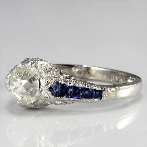 Vintage Art Deco Diamond & Sapphire Engagement Ring | 1.12 ct, SZ 4 |