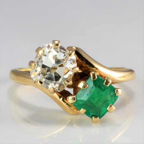 Edwardian Diamond & Emerald Engagement Ring | 1.00 ct, SZ 6.25 |