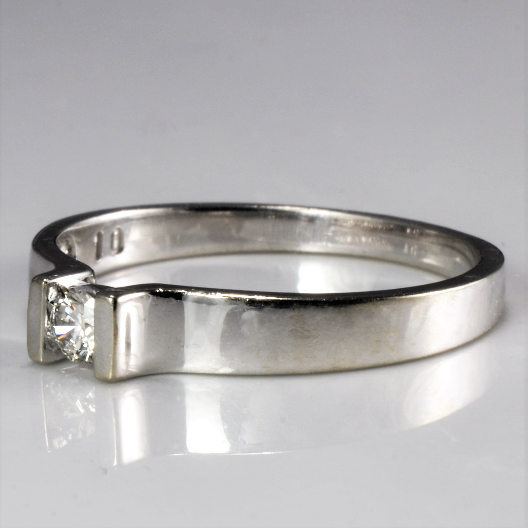Semi Bezel Solitaire Diamond Ring | 0.10 ct, SZ 6.25 |