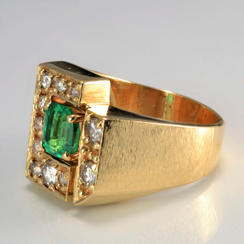 Patterned Diamond & Emerald Heavy Ring | 0.78 ctw, SZ 10 |
