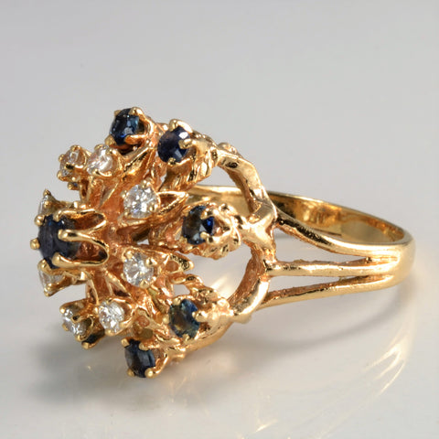 High Set Diamond & Sapphire Ring | 0.36 ctw, SZ 6.5 |
