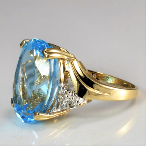 High Set Topaz & Diamond Ring | 0.03 ctw, SZ 7 |
