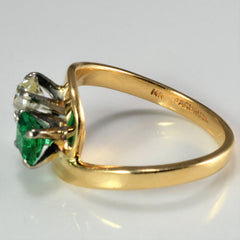 Two Stone Diamond & Emerald Bypass Ring | 0.37 ct, SZ 6.25 |