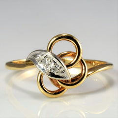 Two Tone Gold Diamond Knot Ring | 0.03 ctw, SZ 7.75 |