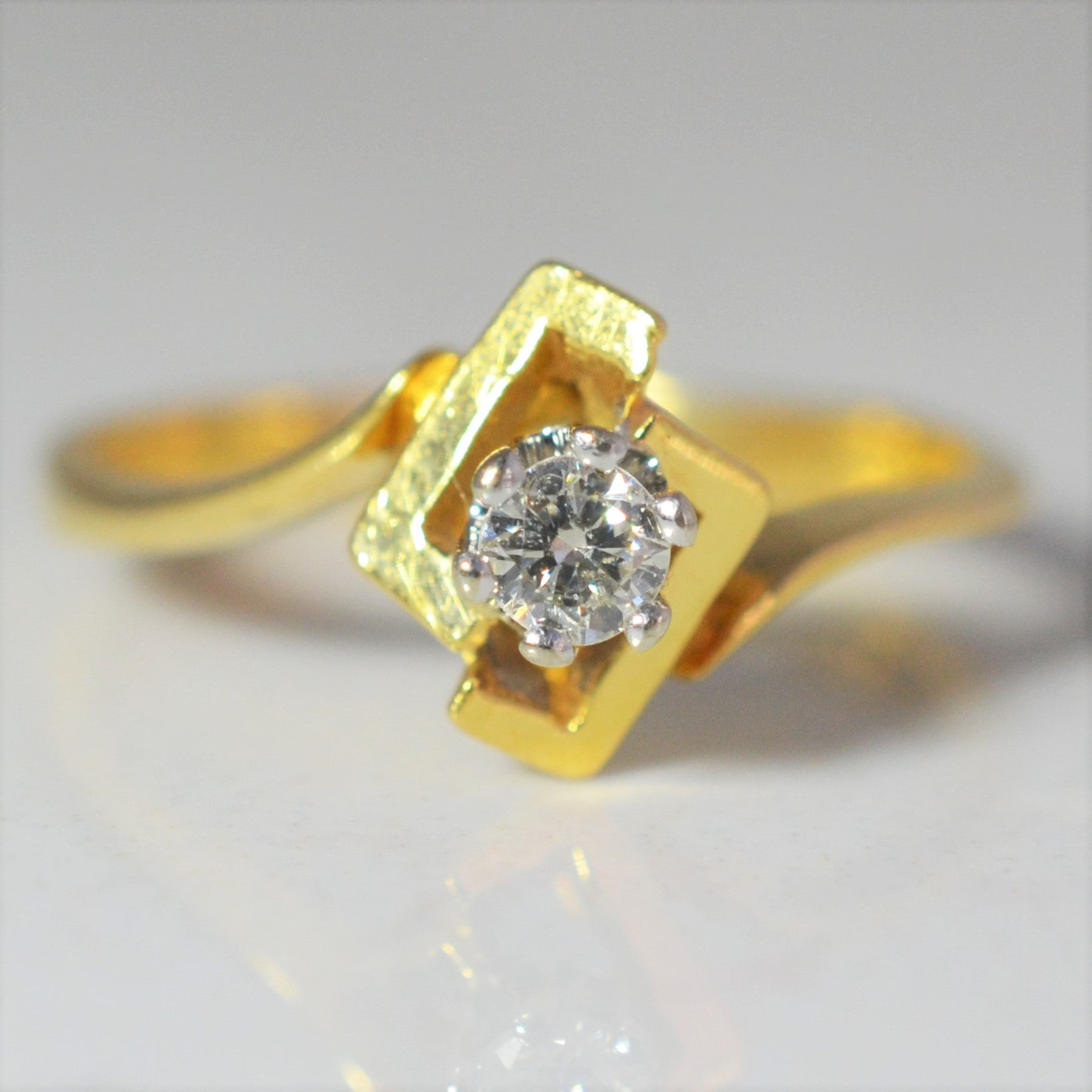 1930s Abstract Solitaire Engagement Ring | 0.11ct | SZ 5 |