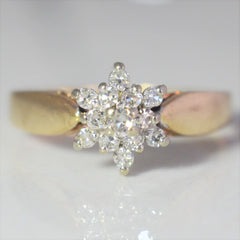 Tapered Floral Cluster Ring | 0.15 ctw, SZ 5.5 |