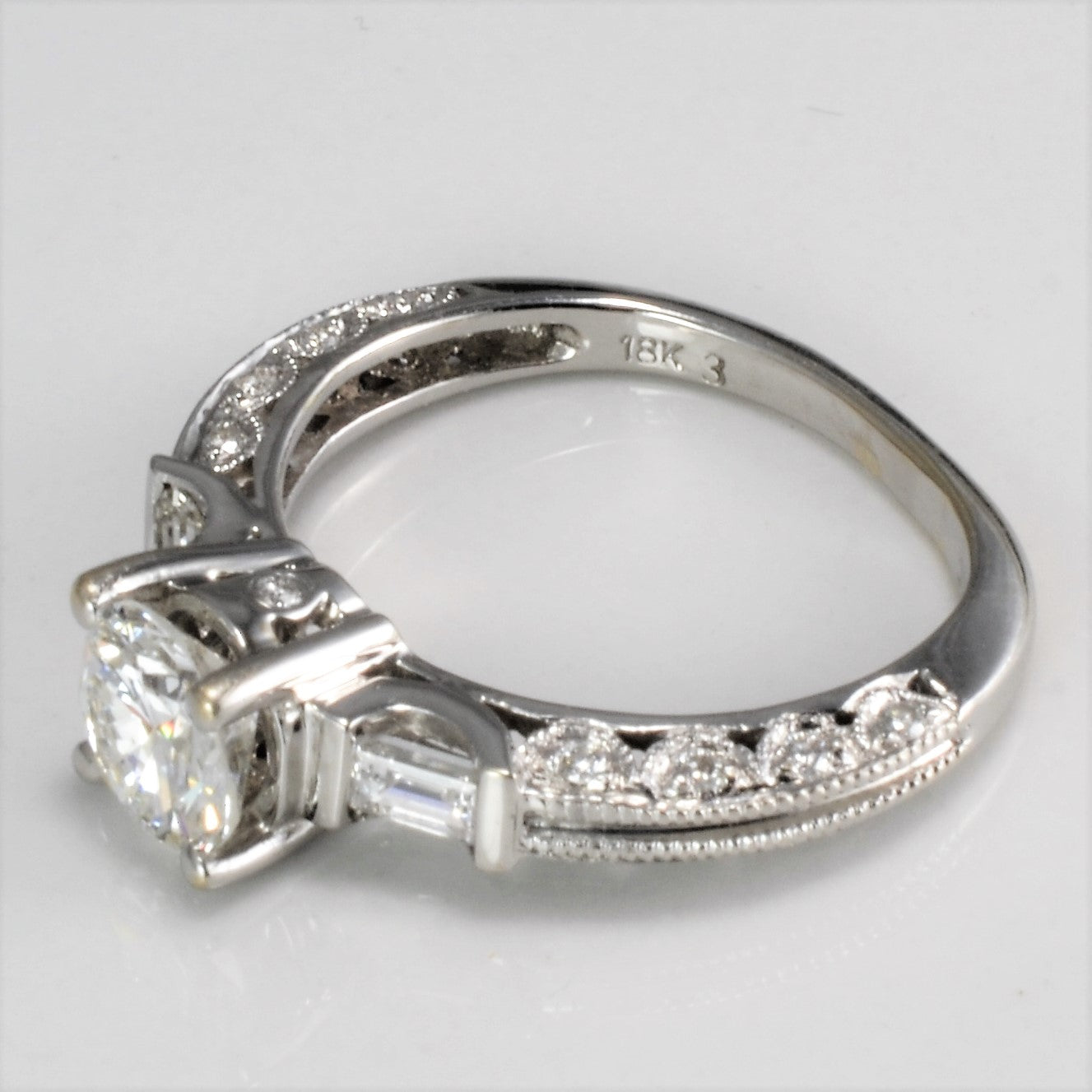 Round Brilliant Engagement Ring With Baguette Accents | 1.04 ctw | SZ 4.75|