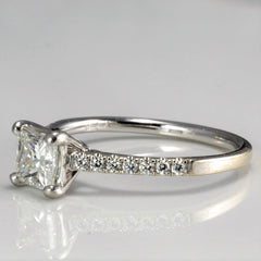 Solitaire with Pave Set Diamond Engagement Ring | 0.82 ctw, SZ 6 |