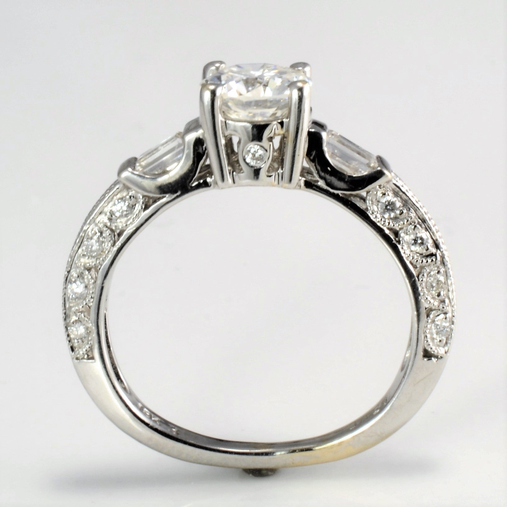 Round Brilliant Engagement Ring With Baguette Accents | 1.04 ctw |
