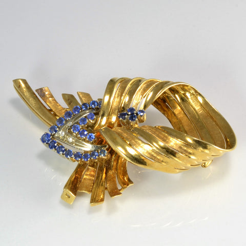 Fancy Bow Design Sapphire & Diamond Brooch | 0.02 ctw |