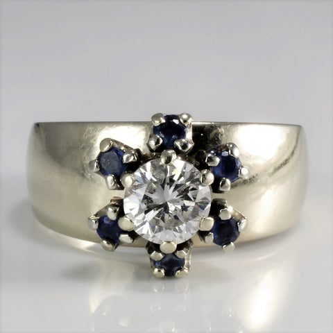 Flower Design Diamond & Sapphire Wide Band Ring | 0.50 ct, SZ 5.75 |