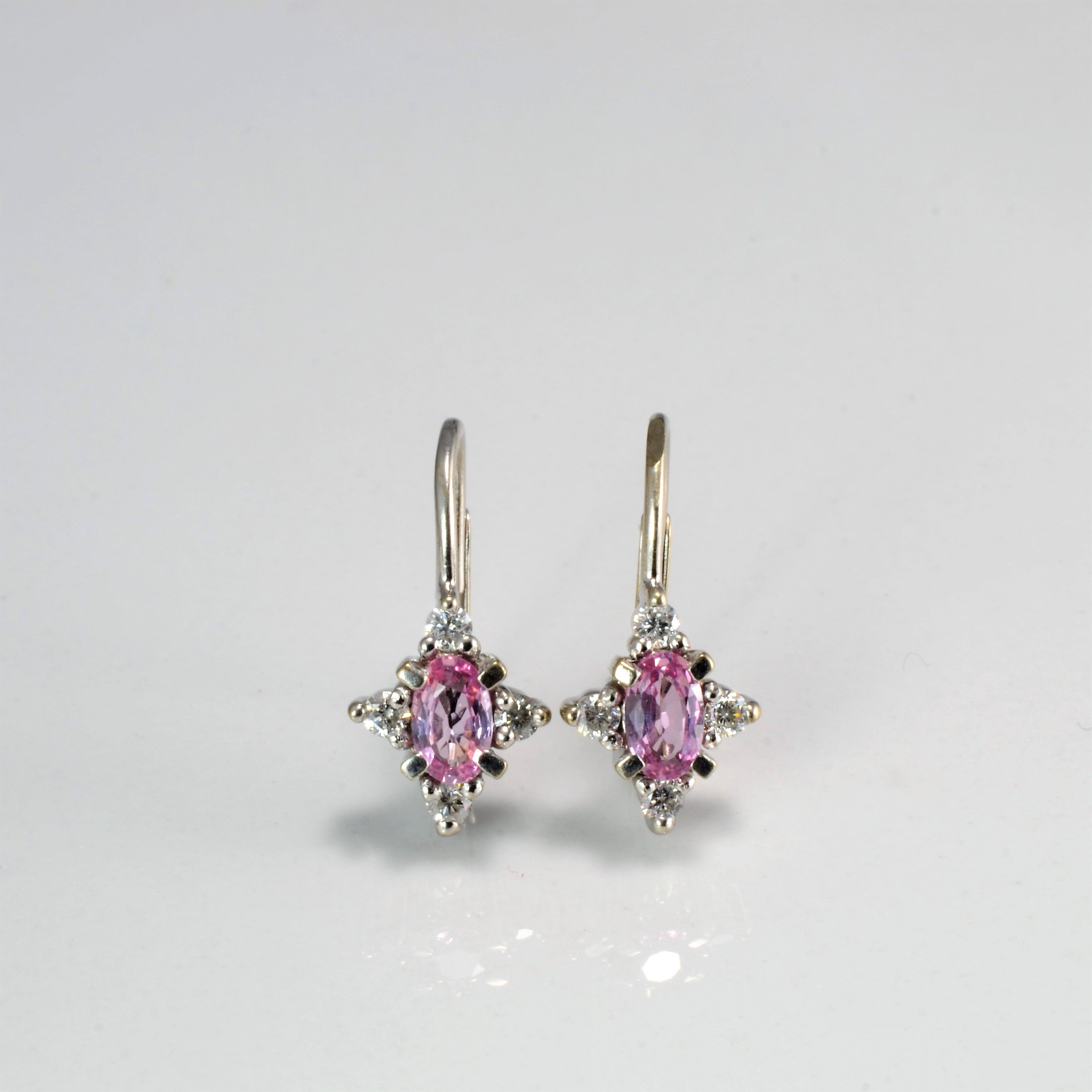 Cluster Diamond & Pink Sapphire Earrings | 0.18 ctw |