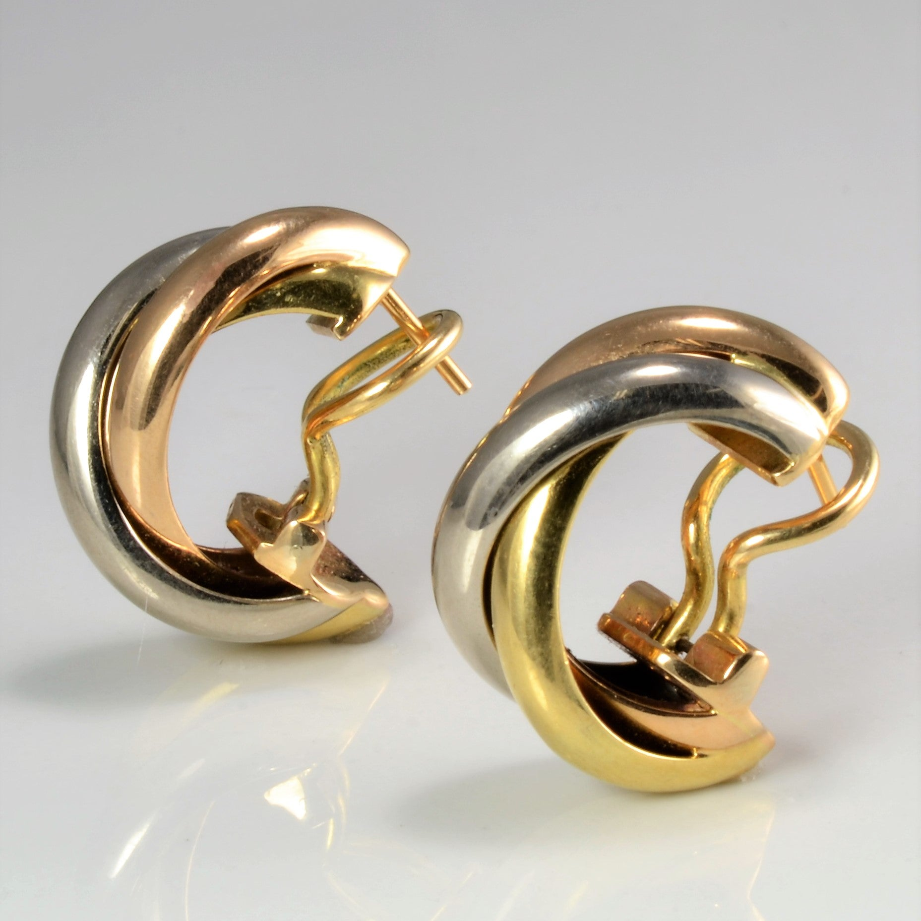 """Cartier"" Gold Trinity Earrings"