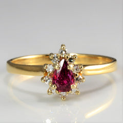 Pear Ruby & Diamond Cocktail Ring | 0.13 ctw, SZ 7.25 |