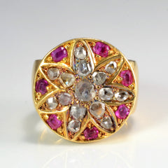 Vintage Custom Made Cluster Diamond & Ruby Ring | 0.75 ctw, SZ 5.5 |