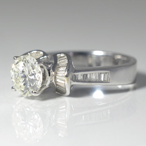 Flared Baguette Halo Engagement Ring | 1.70 ctw, SZ 6 |