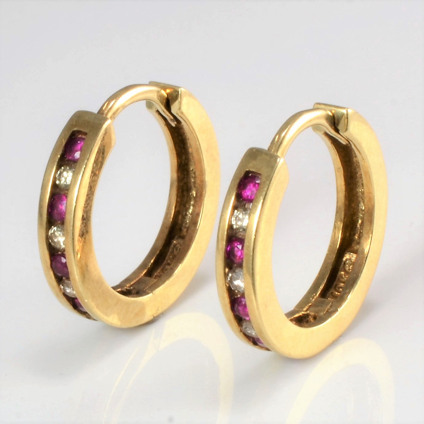 Channel Diamond & Ruby Huggie Earrings | 0.13 ctw |