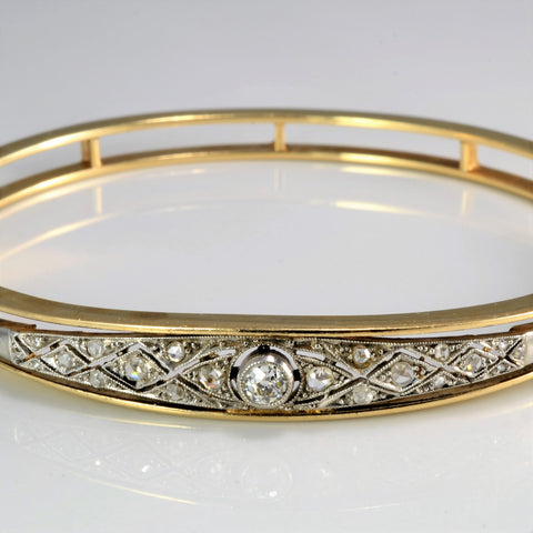 Custom Made Vintage Art Deco Diamond Bangle | 0.43 ctw, 7''|
