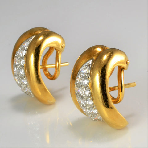 """Cavelti"" Cluster Diamond Wide Clip Earrings 
