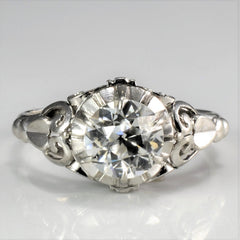 Edwardian Era Filigree Solitaire Diamond Engagement Ring | 1.10 ct, SZ 6 |