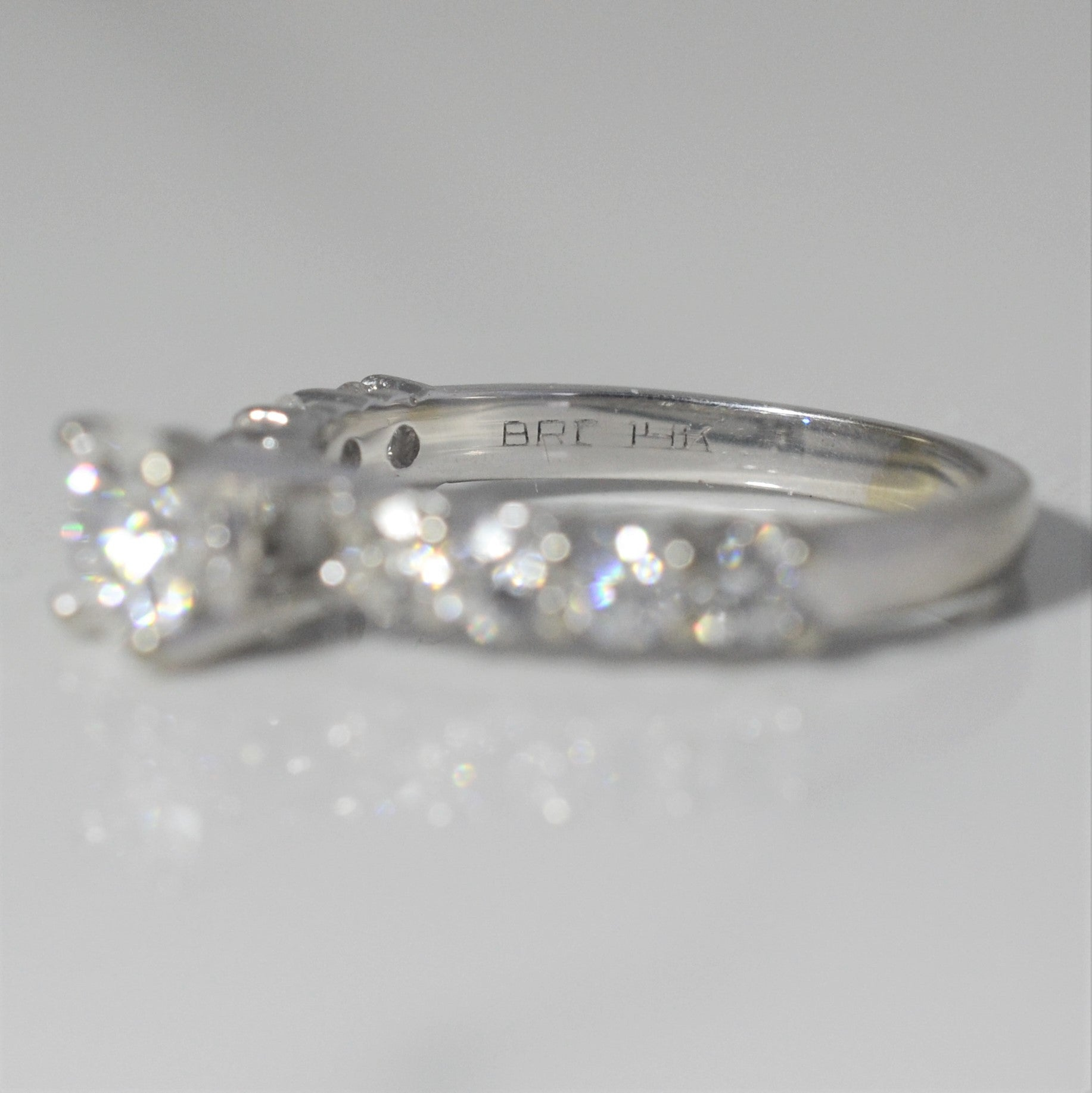 Pave Diamond Band Engagement Ring | 1.26 ctw, SZ 5.75 |