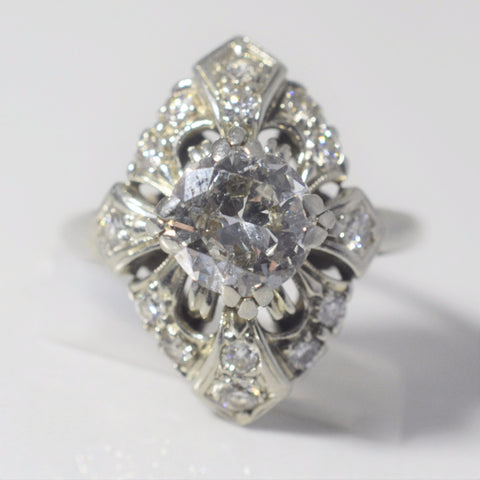 Intricate Art Deco Engagement Ring | 1.55ctw | SZ 7 |