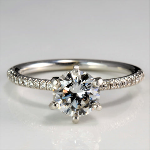 High Set Solitaire with Accents Diamond Engagement Ring | 0.99 ctw, SZ 6 |