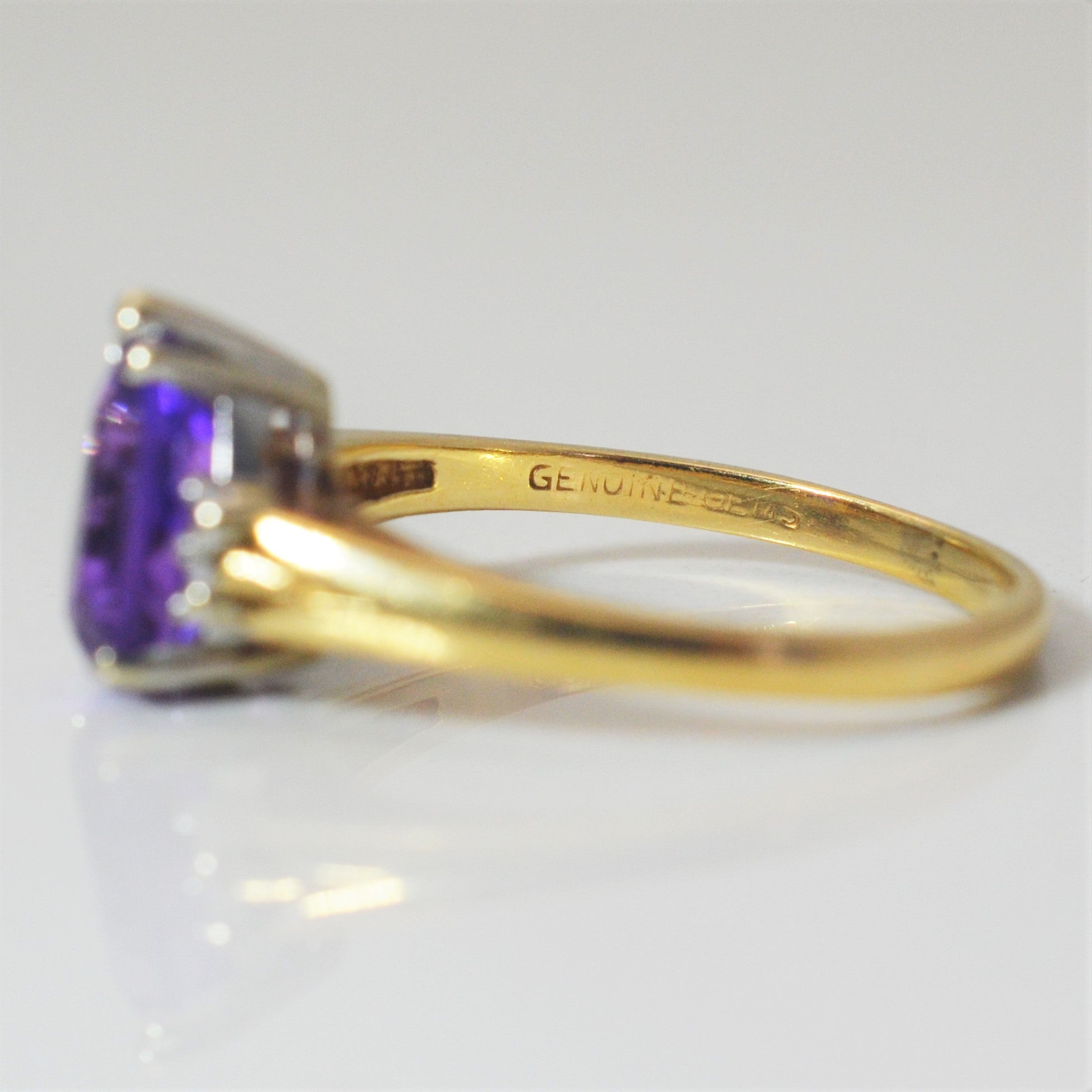 Diamond Accented Pear Cut Amethyst Ring | 0.02 ctw, SZ 7.5 |